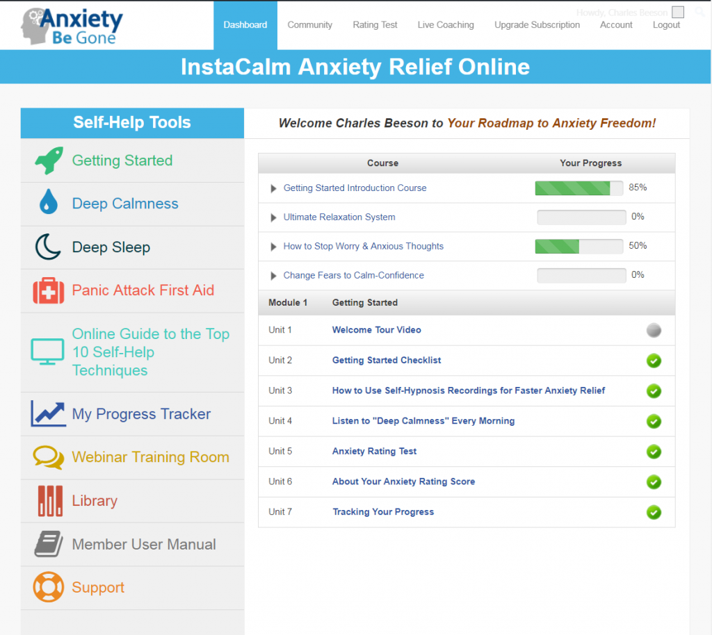 Anxiety Relief Self-Help Tools Dashboard
